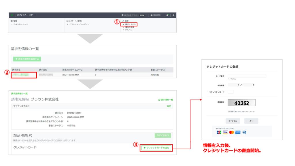 LINE広告の支払い情報の入力