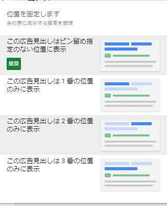 レスポンシブ検索広告の表示位置の固定
