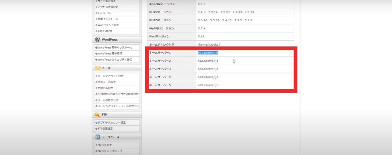 サーバー情報にあるネームサーバーを全てコピーします。